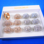Chunky Gold & Silver Dome Rings w/ Clear Crystals 12 per bx .54 each
