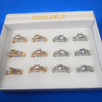 Gold & Silver Stone Band Rings w/ Clear Crystals 12 per bx .54 each
