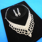 Elegant Clear Rhinestone Necklace Set (29) sold by set  $ 3.00 ea set