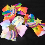 "5"" Rainbow Sparkle Star Gator Clip Bows 2 colors  .54 ea"