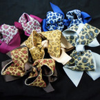 "5"" 2 Layer Gator Clip Bows Winter Colors w/ Leopard Print   .54 ea"