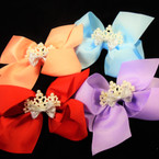 "5"" Gator Clip Bows Light Colors w/ Pearl Crown & Mini Bow    .54 ea"