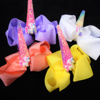 "5"" Gator Clip Bows Light Colors w/ Unicorn & Sparkle Horn   .54 ea"