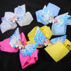 "5"" Gator Clip Bows Light Colors w/ Baby Unicorn & Metallic Angel Wings  .54 ea"