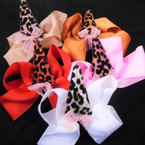 "5""  Gator Clip Bows Winter Colors w/ Animal Print Horn  & Lace  .54 ea"