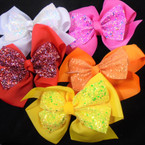 "6"" 2 Layer Gator Clip Bows Mixed Colors w/ Sparkle Center Bow   .54 ea"