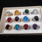 Cast Gold & Silver Ring w/ Prong Set Colored Stones 12 per bx .56 each