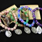 Mbl Glass Bead Bracelet  St. Michael Charm w/ Story Prayer Card  .56 ea