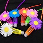 "4"" Colorful Flower  Theme Glitter Fruit Lip Gloss 12 per pk .56 each"