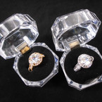 Gold & Silver Round Crystal Stone Rings in Gift Box 12 per pk  $ 1.00 each