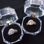 Design Style Gold & Silver Round Crystal Stone Rings in Gift Box 12 per pk  $ 1.00 each