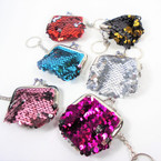 "2.5"" Change Color Sequin Coin Purse Key Chain 12 per pk .58 each"