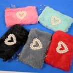"4.5"" Faux Fur Zipper Coin Purse w/ Dbl Pearl Heart  12 per pk .58 ea"