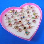 Kid's Adjustable Crystal Stone Rings 36 per bx .25 each
