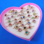 Kid's Adjustable Crystal Stone Rings 36 per bx .25 each