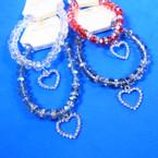 Crystal Stone Stretch Bracelet w/ Rhinestone Heart  12 per pk .58 each