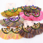 "New Fashion Earrings 3"" Multi Color Fringe Theme .58 per pair"