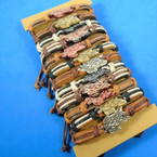 Leather Bracelet w/ Hand Carved Bone Turtle 12 per card  .66 each