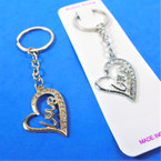 Gold & Silver Heart Love Keychains w/ Cry. Stones 12 per pk .54 ea