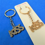 Gold & Silver  Keychains KISS w/ Cry. Stones 12 per pk .52 ea