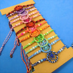 Hand Made in Indonesia Wooven Dream Catcher Bracelet Bright  12 per cd .66 each