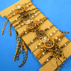 Hand Made in Indonesia Wooven Dream Catcher Bracelet Browns 12 per cd .66 each
