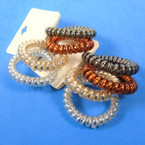 Trendy 4 Shiney Pack Phone Coil Ponytailers/Bracelets Gold/Sil & Browntones .56 per set