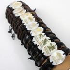 Teen Leather Bracelet w/ Oval Shell Zodiac Signs 12 per pk .54 each
