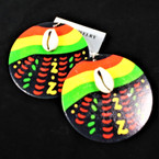 "2.5"" Rd. Rasta Color Earrings w/ Cowrie Shell .54 per pair"