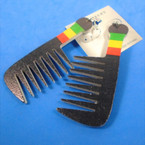 "3.5""  Rasta Color Comb Wood Earrings  .54 per pair"
