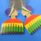 "3""  Rasta Women  Hair Comb Wood  Earrings  .54 per pair"