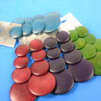 "4"" Wood Disc Fashion Earring Winter Colors  .54 ea"