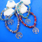 Mixed Color Crystal Bead Bracelet w/ Silver Tree of Life Charm  .54 each