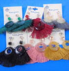 """2.75"""" Cry. Stone Top Fringe Fashion Earrings .56 each pair"""