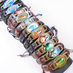 NEW Leather Cord Bracelets w/ 12 Mixed Saint Pictures Gold/Silver Frame   .56 each