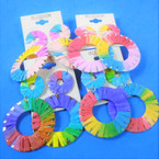 "2.75"" Multi Color Wrapped Fabric Fashion Earrings  .56 per pair"