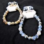 Elegant Crystal Stone & Gold/Silver Bead Bracelet & Earring Set .58 per set
