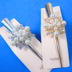 "5"" Gold & Silver Salon Clips w/ Cry. Stones & Pearls 12 per pk .58 each"