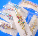 "5"" Gold & Silver Salon Clips w/ Crystal Stones 12 per pk (125) .58 each"