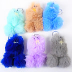 "5"" Mixed Color Cute Faux Fur Poodle Keychains 12 per pk .58 each"