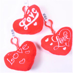 "4"" Plush Red Heart Embroidered Love Theme w/ Clip 12 per pk .62 each"