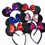 Black Mouse Ear Fashion Headbands w/ Sequin Bow 12 per pk .58 each