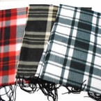 "11.5"" X 58""  Fleece Fringe Scarf Plaid/Checker Mix 12 per pk (ST)$ .88  each"