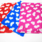 "9.5"" X 52""  Fleece Fringe Scarf for Kid's Heart Pattern 12 per pk $ .88  each"