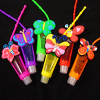 "4"" Butterfly Theme Glitter Fruit Lip Gloss 12 per pk .56 each"