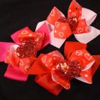 "6"" Valentine Theme Gator Clip Bows Sequin Heart 3 colors 12 per pk .54 each"