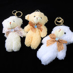 "5"" Soft Plush Teddies Keychain/Clip White & Beige Colors 12 per pk .62 each"
