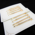"Set of 4 - 2"" Gold Crystal Stone Bobbie Pins   .54 per set"