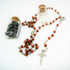 "30"" Black & Brown Rosary in  Keepsake Bottle w/ Silver Cross    .58 each"
