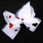 "5"" Gro Grain & White Lace Gator Clip Bows w/ Foil Red Hearts .54 each"